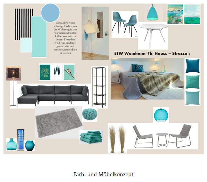 Auswahl an Möbeln und Farben